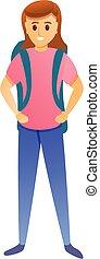 stile, icona, felice, escursionista, cartone animato, ragazza