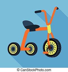 stile, icona, metallo, triciclo, appartamento