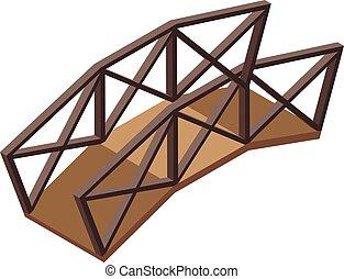 stile, icona, ponte legno, isometrico
