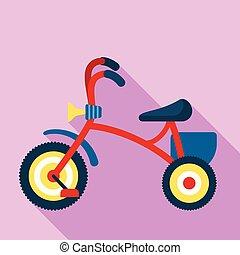 stile, icona, triciclo, ragazzo, appartamento