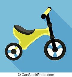 stile, icona, triciclo, verde, appartamento