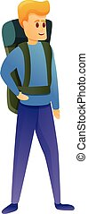 stile, icona, zaino, escursionista, cartone animato
