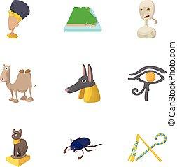 stile, icone, egitto, set, repubblica, cartone animato