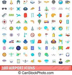 stile, icone, set, aeroporto, 100, cartone animato