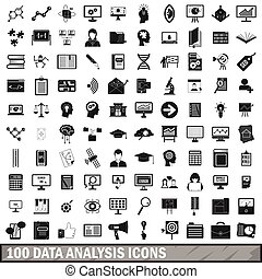 stile, icone, set, analisi, semplice, 100, dati