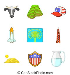 stile, icone, set, attrazione, mondo, cartone animato