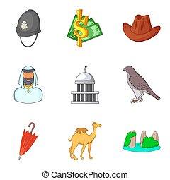 stile, icone, set, culto, mondo, cartone animato