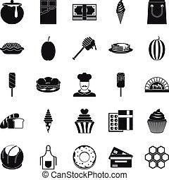 stile, icone, set, esecutivo, chef, semplice