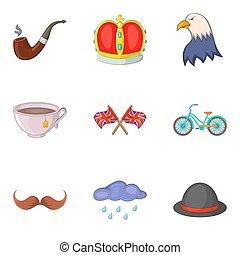 stile, icone, set, mondo, cartone animato, storia
