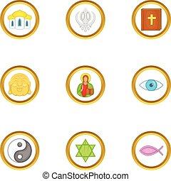 stile, icone, set, religione, mondo, cartone animato