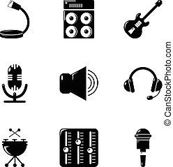 stile, icone, set, semplice, roba, musica