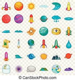 stile, icone, set, sistema, solare, cartone animato