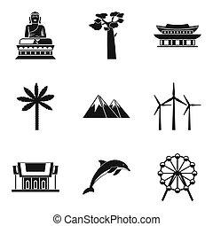 stile, icone, set, tracciato, semplice, mondo