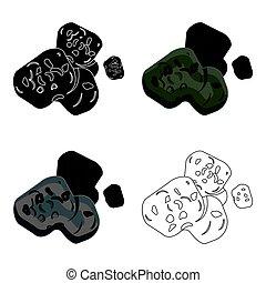 stile, illustration., asteroide, simbolo, isolato, fondo., vettore, pianeti, bianco, icona, cartone animato, casato