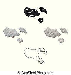 stile, illustration., spazio, asteroide, simbolo, isolato, fondo., vettore, bianco, icona, cartone animato, casato