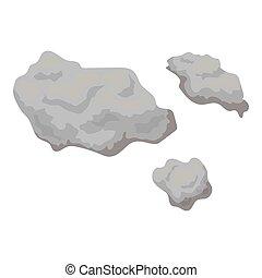 stile, illustration., spazio, asteroide, simbolo, isolato, fondo., vettore, monocromatico, bianco, icona, casato