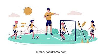stile, illustrazione, calcio, vettore, disegno, appartamento, bambini, scuola