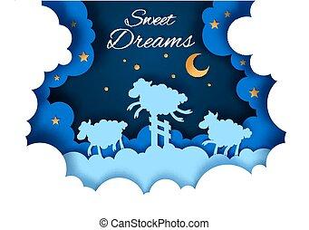 stile, illustrazione, dolce, vettore, arte, fare un sogno, carta