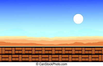 stile, illustrazione, gioco, vettore, fondo, deserto