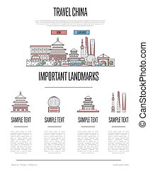 stile, infographics, porcellana, lineare, viaggiare