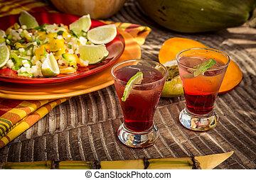 stile, limone, cocktail, noce di cocco, frutta, arancia, papaia, tailandese, rosso, occhiali