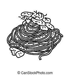 stile, mano, spaghetti, icon., disegnato, scarabocchiare, icona, carbonara, o, contorno