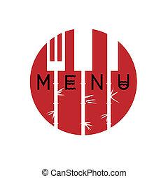 stile, menu ristorante, -, variazione, 3, disegno, asiatico, elegante