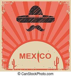 stile, messicano, manifesto, carta, sombrero, vecchio