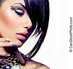 stile, moda, capelli, portrait., trendy, modello, ragazza
