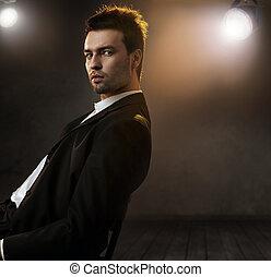 stile, moda, foto, elegante, splendido, uomo