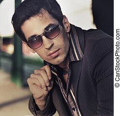 stile, moda, foto, elegante, uomo, bello