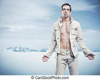 stile, moda, inverno, uomo foto, bello