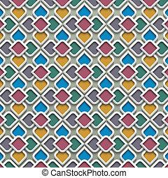 stile, modello, colorato, seamless, islamico, 3d