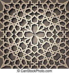 stile, modello, persiano, est, motivo, geometrico, fondo, seamless, islamico, arabo, 3d, ornamento