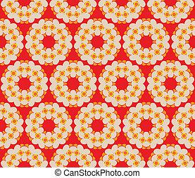 stile, modello, seamless, retro, fondo, fiori, rosso