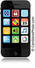stile, moderno, -, telefono cellulare, vettore