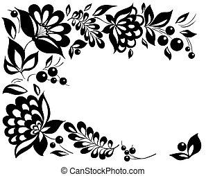 stile, nero-e-bianco, leaves., elemento, disegno, retro, floreale, fiori