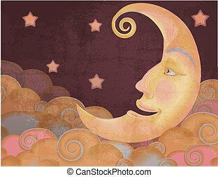stile, nubi, luna, illustrazione, retro, stelle, mezzo