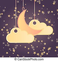 stile, nubi, luna, stelle, fondo, cartone animato