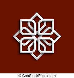 stile, ornamento, bianco, arabo, 3d