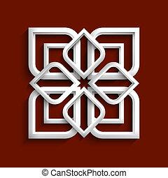 stile, -, ornamento, variazione, 2, bianco, arabo, 3d