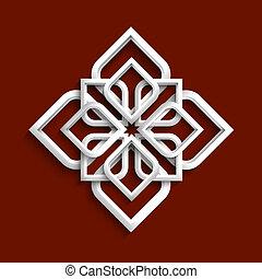 stile, -, ornamento, variazione, 3, bianco, arabo, 3d