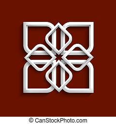 stile, -, ornamento, variazione, 4, bianco, arabo, 3d