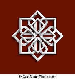 stile, -, ornamento, variazione, 5, bianco, arabo, 3d