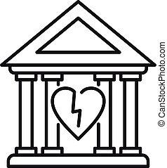stile, palazzo di giustizia, contorno, divorzio, icona