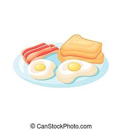 stile, pancetta affumicata, frieds, colazione, uova, icona, dettagliato, bread