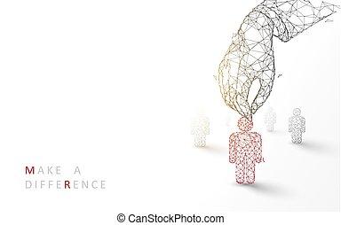 stile, particella, persona affari, candidate., concept., su, illustrazione, mano, reclutamento, linee, vettore, rosso, scegliere, triangoli, design.