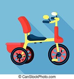stile, pedale, icona, triciclo, appartamento