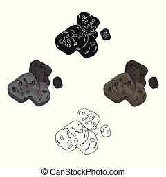 stile, pianeti, casato, simbolo, cartone animato, nero, isolato, asteroide, icona, vettore, fondo., illustration., bianco