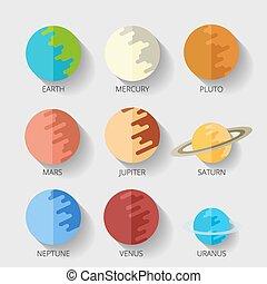 stile, pianeti, solare, set, icona, system., shadow., cartone animato, appartamento